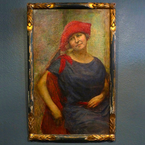 portrait with red hat